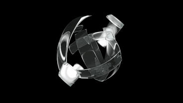 rotation glass ribbon shaped ball,high tech energy... Stock Video Footage