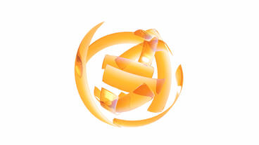 rotation orange glass ribbon shaped ball,high tech energy... Stock Video Footage