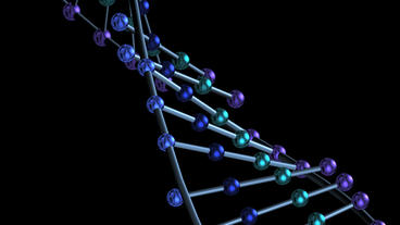 3D metal DNA string & particles Stock Video Footage