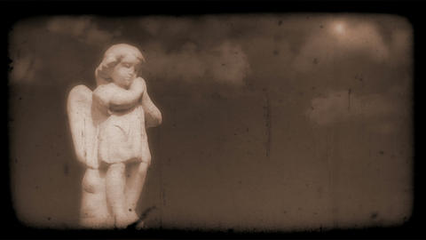 Vintage Film of Angel with Clouds moving in the background Stock Video Footage