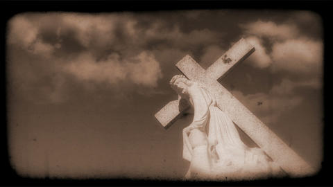 Vintage Film of crucifix with Clouds moving in the... Stock Video Footage