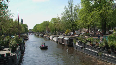 Police boat in Amsterdam Stock Video Footage