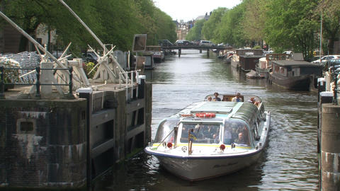 Canal cruise in Amsterdam Stock Video Footage