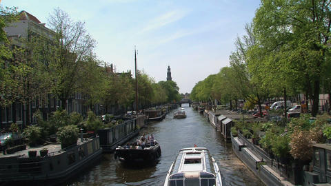 Boats in canal in Amsterdam Footage
