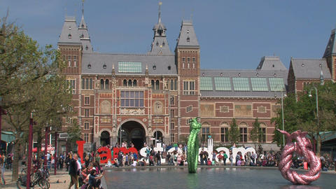 Tourists for the Rijksmuseum Stock Video Footage
