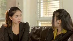 Young Asian Office Worker Friends Chatting and Discussing... Stock Video Footage