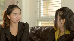 Young Asian Office Worker Friends Chatting and Discussing Work Footage