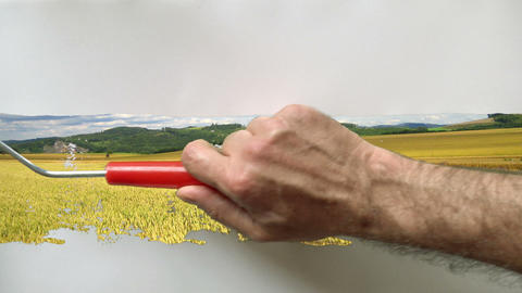 paintroll painting 01 Stock Video Footage