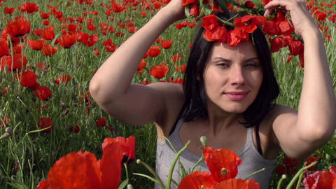 Girl and Poppies SS HD Stock Video Footage