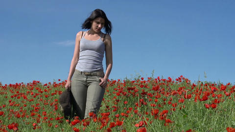 Walk in the Poppy Field Footage