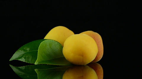 Three apricots Stock Video Footage