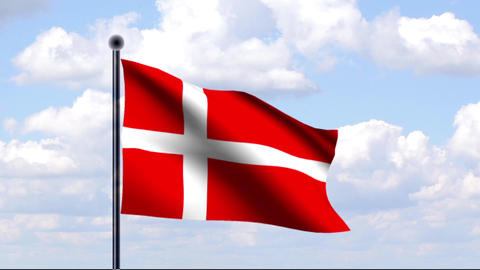 Animated Flag of Denmark / Animierte Flagge von D Stock Video Footage