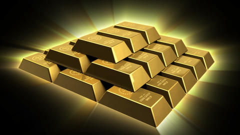 Shiny Gold Bricks Pyramid Stock Video Footage