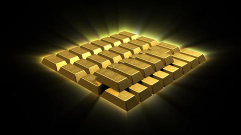Growing Gold Bricks Pyramid Stock Video Footage