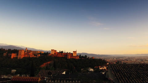 Alhambra at sunset Footage