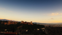 Alhambra at sunset Stock Video Footage