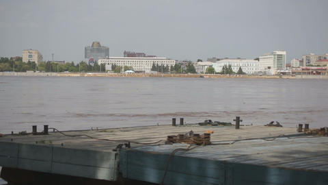 High water in the Amur River Footage