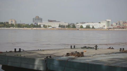 High water in the Amur River Stock Video Footage