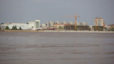 High water in the Amur River. Blagoveshchensk Footage