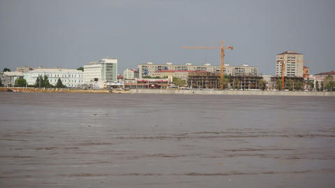 High water in the Amur River. Blagoveshchensk Stock Video Footage