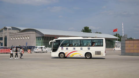 Chinese City of Heihe Passenger Customs 01 Stock Video Footage