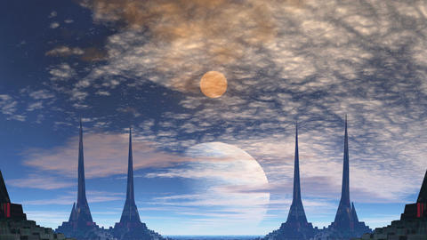 Towers of aliens, gas giant and moon Stock Video Footage