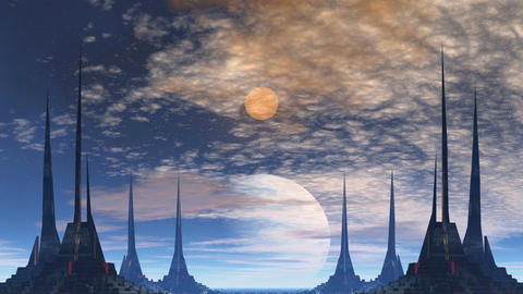 Towers of aliens, gas giant and moon Animation
