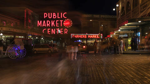 Pike Place Market at Night Stock Video Footage
