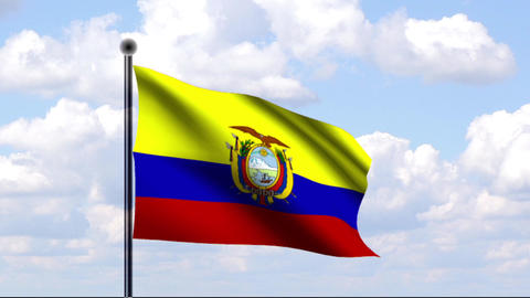 Animated Flag of Ecuador / Animierte Flagge von Ec Stock Video Footage