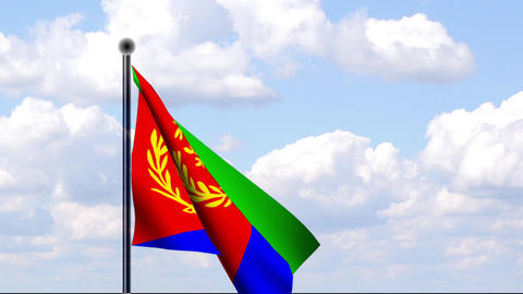 Animated Flag of Eritrea / Animierte Flagge von Er Stock Video Footage