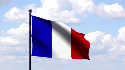 Animated Flag of France / Animierte Flagge von Fra Stock Video Footage