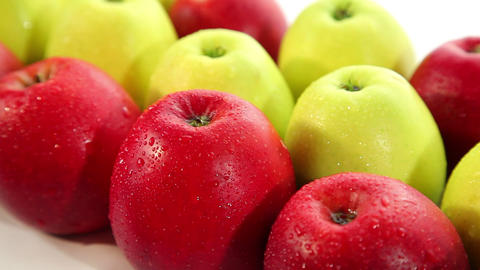 Delicious red and green apple, dolly shot Footage