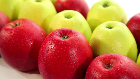 Delicious red and green apple, dolly shot Stock Video Footage