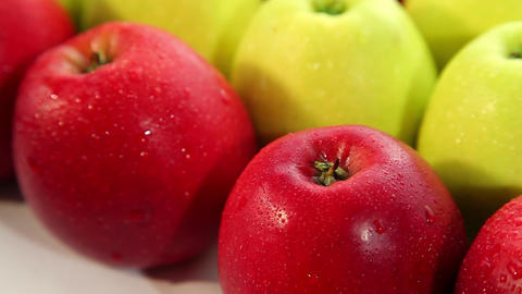 Fresh green and red apples - dolly shot Stock Video Footage