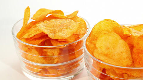 Party potato paprika chips, dolly shot Stock Video Footage