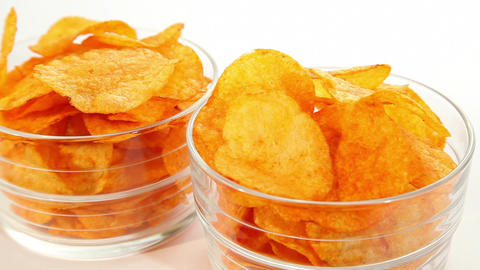 Party potato paprika chips, dolly shot Footage