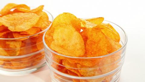 Party potato paprika chips, dolly shot Stock Video Footage