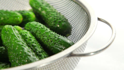 Fresh cucumbers, dolly shot Stock Video Footage