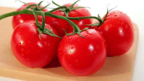 Beautiful fresh ripe red tomato - dolly shot Stock Video Footage