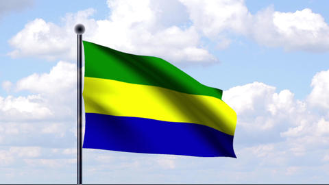 Animated Flag of Gabon / Animierte Flagge von Gabu Stock Video Footage