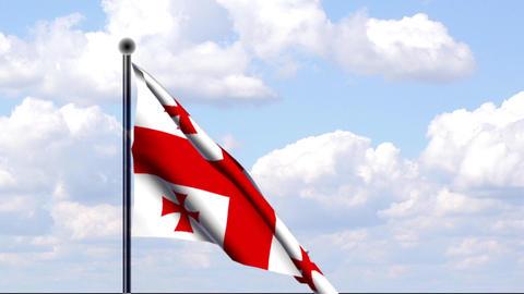 Animated Flag of Georgia / Georgien Stock Video Footage