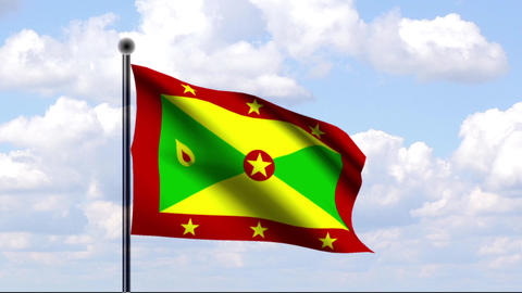 Animated Flag of Grenada Stock Video Footage
