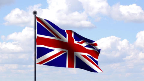 Animated Flag of Great Britain / Großbritannien Stock Video Footage