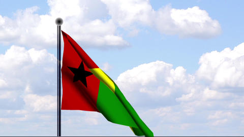 Animated Flag of Guinea-Bissau / Animierte Flagge Stock Video Footage