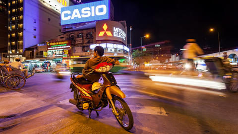 1080 - VIETNAMESE MOTO TAXI WAITING FOR CLIENTS - Stock Video Footage