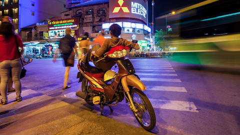 1080 - VIETNAMESE MOTO TAXI - PANNING TIME LAPSE Stock Video Footage