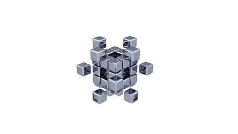 3D Cubes - Assembling Parts Stock Video Footage