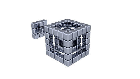 3D Cubes - Assembling Parts Stock Video Footage