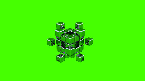 3D Cubes - Assembling Parts - Green Background Stock Video Footage