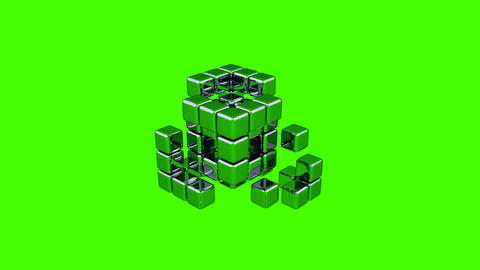 3D Cubes - Assembling Parts - Green Background Animation